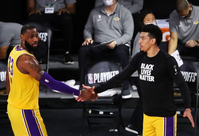 LeBron James and Danny Green of the Los Angeles Lakers