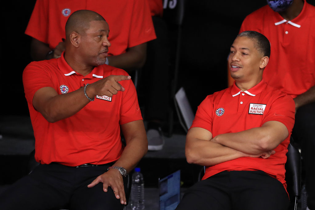 Ty Lue and Doc Rivers of the Los Angeles Clippers