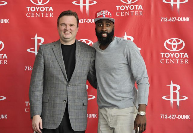 Daryl Morey and James Harden of the Houston Rockets