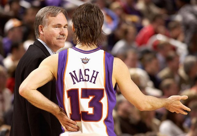 Steve Nash and Mike D'Antoni of the Phoenix Suns