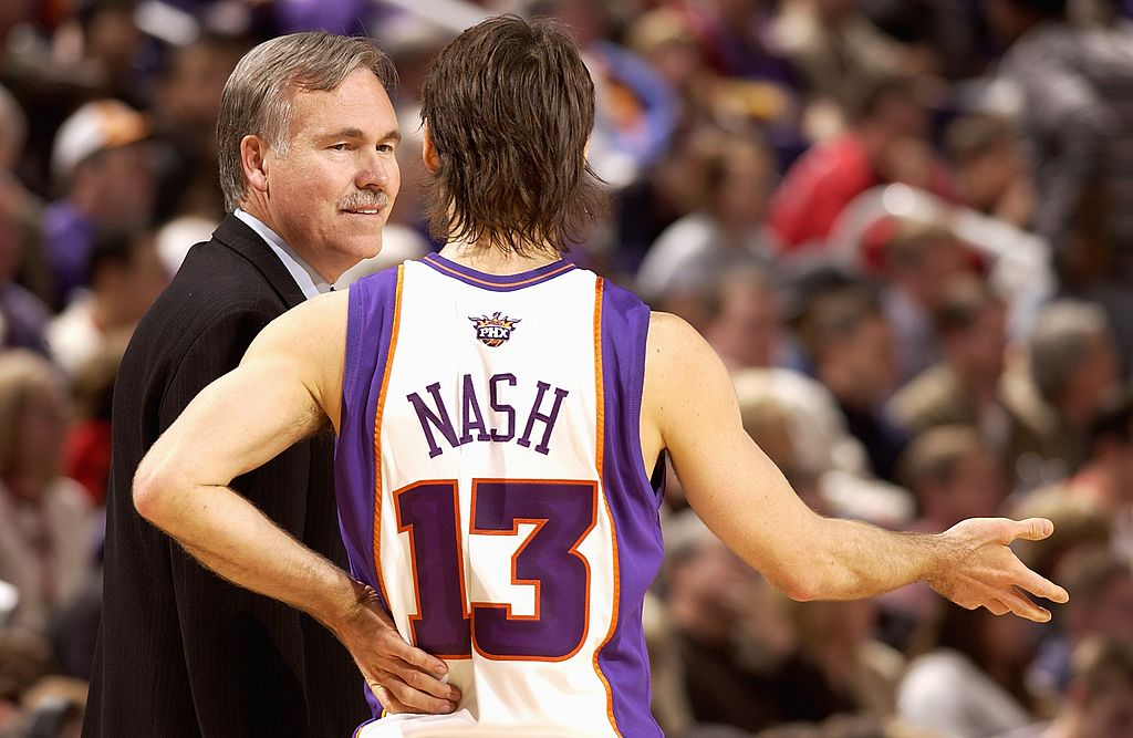 Steve Nash and Mike D'Antoni of the Phoenix Suns