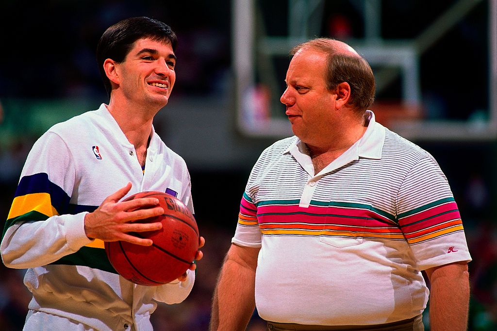 John Stockton and Larry H. Miller of the Utah Jazz