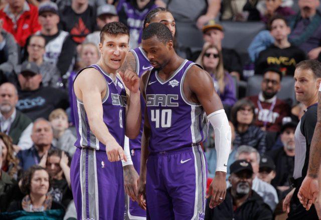 Bogdan Bogdanovic and Harrison Barnes of the Sacramento Kings