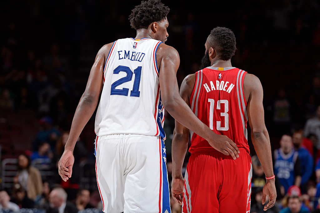 James Harden of the Houston Rockets and Joel Embiid of the Philadelphia 76ers