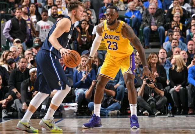Luka Doncic of the Dallas Mavericks and LeBron James of the Los Angeles Lakers